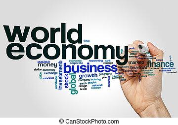 economia mondo, parola, nuvola
