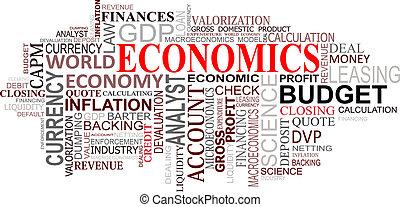 economia, nuvem, etiquetas
