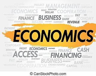 economia, palavra, nuvem