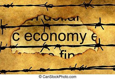 economia, testo, su, carta, buco, contro, barbwire