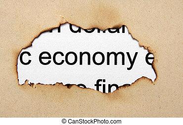 economia, testo, su, carta, buco