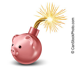Economic Bomb - Economic bomb with a piggy bank in the shape...
