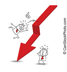Joe the businessman is falling off the red arrow. It's a métaphor of the economic crisis