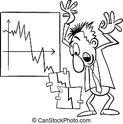 economic crisis cartoon illustration - Black and White...
