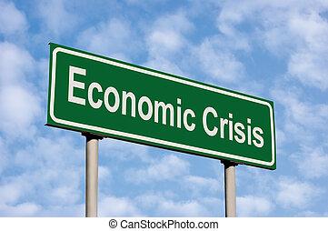 Economic Crisis Green Road Sign Against Light Cloudscape Sky