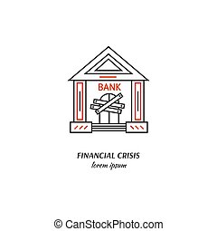 Economic crisis icon - Vector financial crisis symbol...