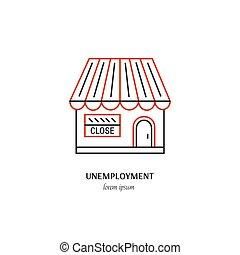 Economic crisis icon - Vector unemployment symbol isolated...