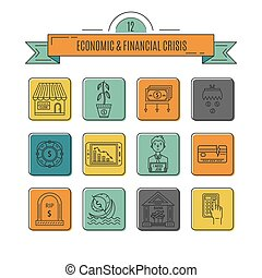 Economic crisis icons - Vector economic and financial crisis...