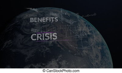 Animation of words Recession, Benefits, Security, Economic Crisis with financial data processing over planet Earth. Global business finances networking concept digitally generated image.