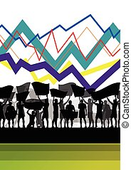Economic crisis line chart with protesting people banners and signs in abstract background