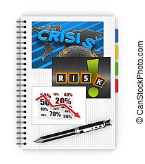 Economic crisis - Notebook concept of global crisis
