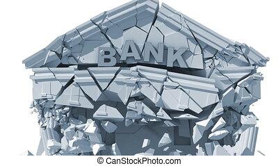 economic crisis, collapsing bank building, 3d animation