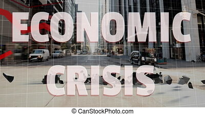 Animation of Economic Crisis text with red lines descending, American dollar sign falling and breaking over cityscape. Global finance business economy crisis concept digitally generated image