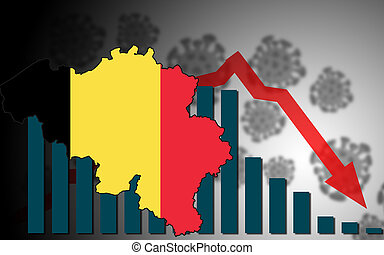 Economic crisis with Covid-19 crisis concept with Belgiun map