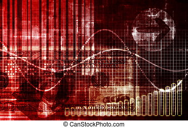 Economic Crisis World Abstract Background in Red