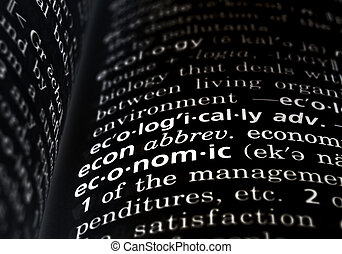 Economic Defined on Black - The word economic in a...