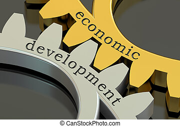 Economic Development concept on the gearwheels, 3D rendering