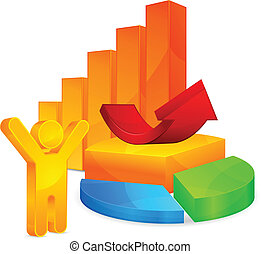 Color graph, circular diagrams, arrow and person symbol, vector illustration