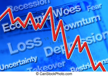 Economic Downturn - Economic downturn graphic with line...