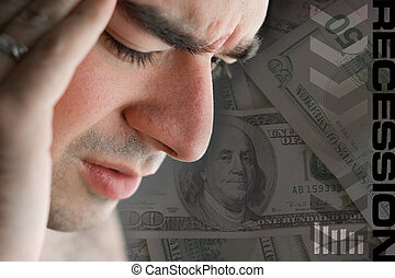 This young man is experience intense stress over a time of economic downturn or other financial hardship.