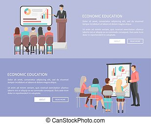 Economic Education Set of Web Posters with Teacher