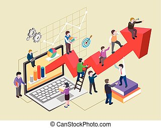 economic growth concept in flat 3d isometric graphic