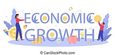 Economic growth school subject typographic header. Student ...