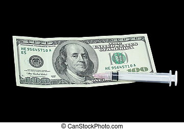 Economic Health - One hundred dollar bill with hypodermic...