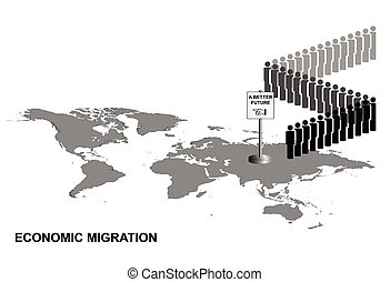 Representation of economic migrants queuing for a better future on world map isolated on white background