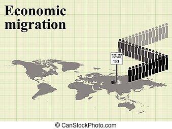 Economic migration world map - Representation of economic...