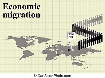 Economic migration world map - Representation of economic...