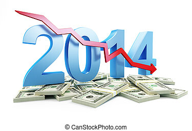 economic recession in 2014 on a white background