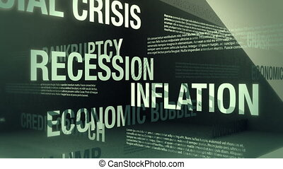 Looping animation with words and concepts related to an economic recession sliding and crossing one another in an abstract but elegant looking environment.