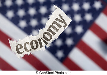 U.S. economic recession concept with selective focus on the word economy.