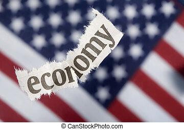 U.S. economic recession concept with selective focus on the word economy.