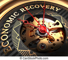 Economic Recovery on Black-Golden Watch Face with Closeup View of Watch Mechanism.