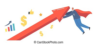 Economic Recovery, Revival Concept. Businessman Superhero Character in Red Cloak Rising Up Arrow Graph, Economy Revival
