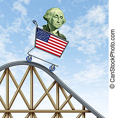 Economic rollercoaster ride representing the falling value...