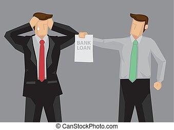Economic Stress Vector Cartoon Illustration - Businessman...