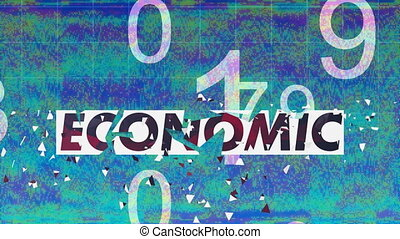 Digital animation of Economic text over grid lines against abstract blue background. Global finances and business concept