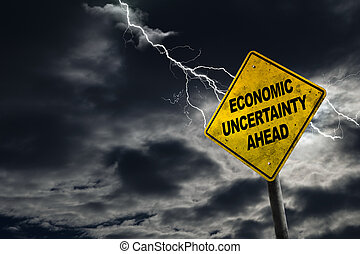 Economic Uncertainty Sign With Stormy Background