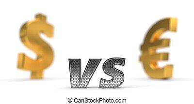 economic war concept. dollar versus euro. 3d illustration