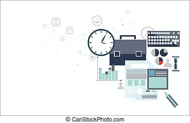 Vector illustration of economical analytics with graphic icopns