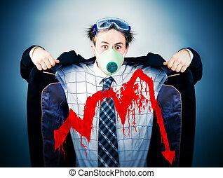 Economical crisis concept. Crazy businessman in protective...
