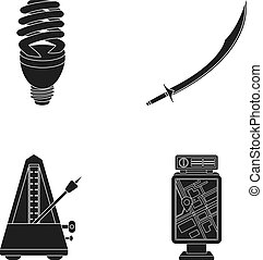 Economical lamp, scimitar and other web icon in black style. metronome, banner icons in set collection.