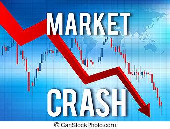 economico, finanziario, crollo, mercato, abbattersi