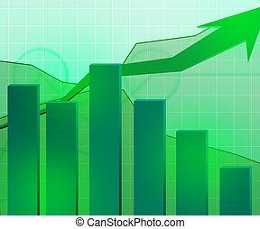 economico, sfondo verde, crescita