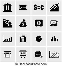 economico, vettore, nero, icona, set