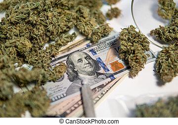 economics., broto, branca, market., notas, cbd, herb., médico, pote, pretas, sativa, marijuana, thc, health., experiência., cannabis, dinheiro, dólares., weed., buds.