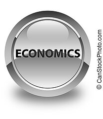 Economics glossy white round button